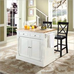 """Crosley Butcher Block Top Kitchen Island in White Finish with 24"""" Black X-Back  Stools"""