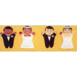 Dexter Educational Toys DEX690W Bride and Groom 2 Piece Puppet Set - Caucasian