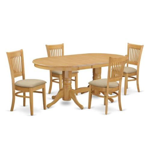 East West Furniture VANC5-OAK-C Dining Table with A Leaf & 4 Chairs for Dining, Oak