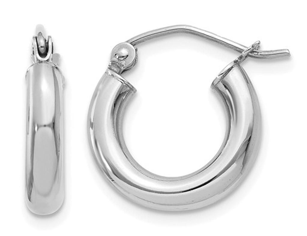 14K White Gold Extra Small Hoop Earrings 1/2 Inch (3.00 mm)