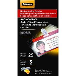 Fellowes, inc. 52033 laminating pouches id card punched w/clp