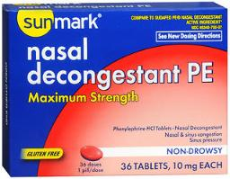 Sunmark Nasal Decongestant PE Tablets Maximum Strength- 36 ct, Pack of 3