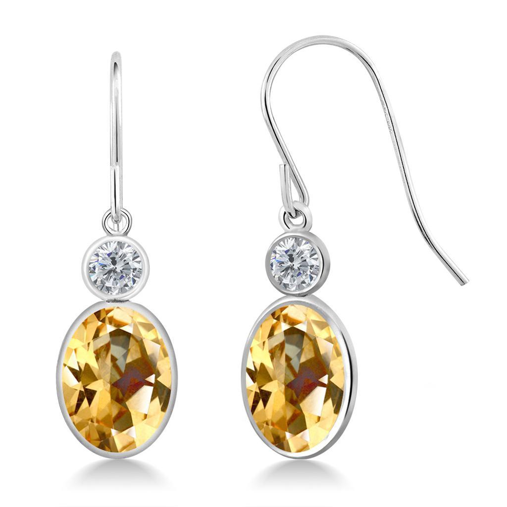 14K White Gold Diamond Earrings Set with Oval Honey Topaz from Swarovski