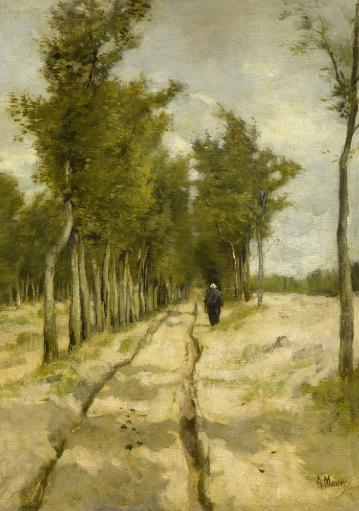 Torenlaan Laren, By Anton Mauve, By 1886, Dutch Painting, Oil On Canvas. A Woman Walks On A Tree-Lined, Wheel Rutted Dirt Road. Poster Print