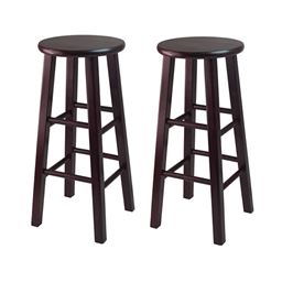 "Winsome Set of 2 Solid Wood 30"" Bar Stool with Square Legs - Espresso"