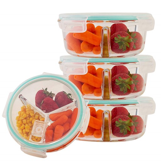 Imperial Home Set Of 4 Round Food Storage Containers 30 Oz Meal Prep Containers 3 Compartment Glass Food Storage Set Massgenie Com