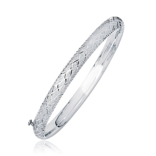 14K White Gold Diamond Carved Bangle (6.0 mm)