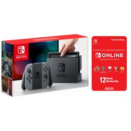 Nintendo Switch Gray Console with Joycon Wireless Controls and 12 Month Online Individual Membership